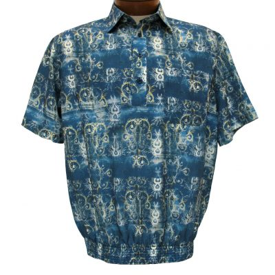 Men's Bassiri® Microfiber-Polyester Short Sleeve Banded Bottom Shirt Blue, #61655 Only Available At Richard David For Men!