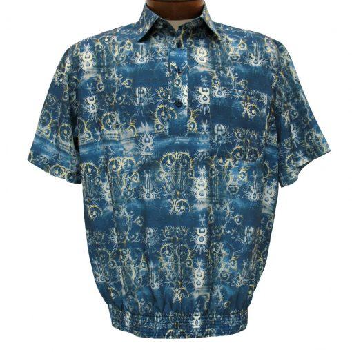 Men's Bassiri® Microfiber-Polyester Short Sleeve Banded Bottom Shirt Blue, #61655 Only Available At Richard David For Men!