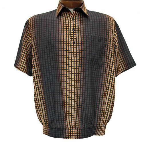 Men's Bassiri® Microfiber-Polyester Short Sleeve Banded Bottom Shirt Brown/Gold, #61755 Only Available At Richard David For Men!