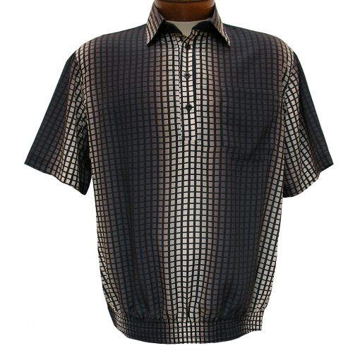Men's Bassiri® Microfiber-Polyester Short Sleeve Banded Bottom Shirt Brown/Beige, #61765 Only Available At Richard David For Men!