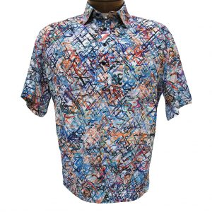 Men's Bassiri Microfiber-Polyester Short Sleeve Banded Bottom Shirt Multi, #61905 (M, ONLY!)