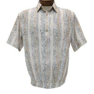 Men's Bassiri Microfiber-Polyester Short Sleeve Banded Bottom Shirt Beige, #61935 (XXL, ONLY!)