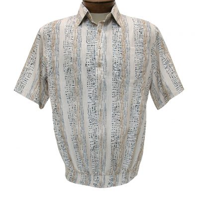 Men's Bassiri® Microfiber-Polyester Short Sleeve Banded Bottom Shirt Beige, #61935 Only Available At Richard David For Men!