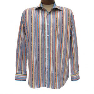 Men's Brandolini® 100% Cotton Long Sleeve Woven Sport Shirt With Contrast Trim, #1159 Multi