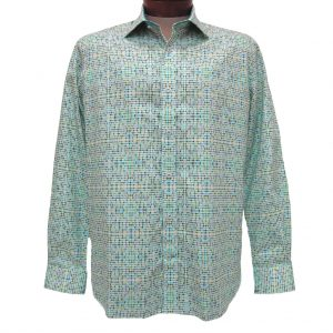 Men's Brandolini 100% Cotton Long Sleeve Sport Shirt With Contrast Trim, #1158 Multi