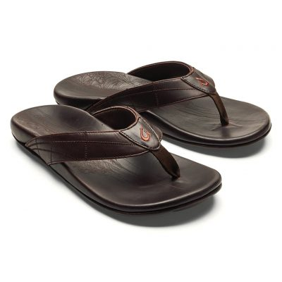 Men's OluKai® HOKULE'A KIA Full Grain Leather Sandal #10355 Dark Wood/Dark Wood