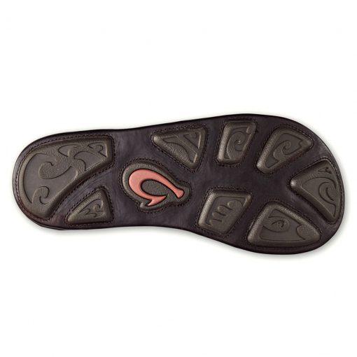 Men's OluKai® HOKULE'A KIA Full Grain Leather Sandal #10355 Dark Wood/Dark Wood