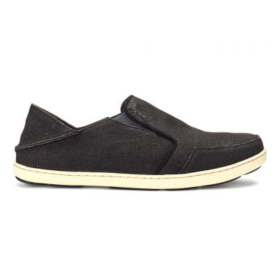 Men's OluKai® Nohea Lole Washed Cotton Canvis Shoe #10346 Black/Dark Shadow