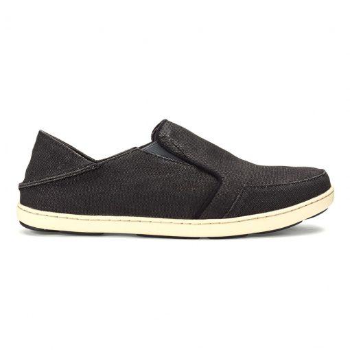 Men's OluKai® Nohea Lole Washed Cotton Canvis Shoe #10346 Black/Dark Shadow