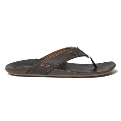 Men's OluKai® NUI Leather Sandal #10239 Dark Java/Dark Java
