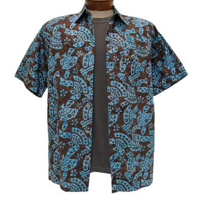 Men's Shirt, Basic Options Short Sleeve Brown Abstract Button Front Batik #61844-7