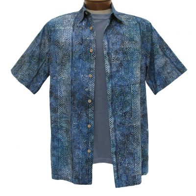 Men's Basic Options Short Sleeve Indigo Abstract Stripe Button Front Batik Shirt #61845-3