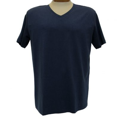 Men's Vannucci Couture® Short Sleeve Super Soft Cotton Model Blend V-Neck Tee, Navy