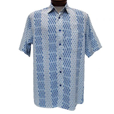 Mens-Bassiri-Short-Sleeve-Button-Front-Microfiber-Sport-Shirt-61181-Blue