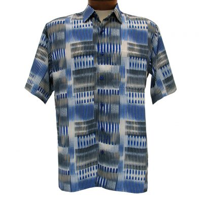 Mens-Bassiri-Short-Sleeve-Button-Front-Microfiber-Sport-Shirt-61281-Blue-Tan