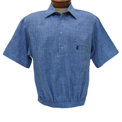 Men's Shirt, D'Accord Short Sleeve Banded Bottom #6441 Blue Heather