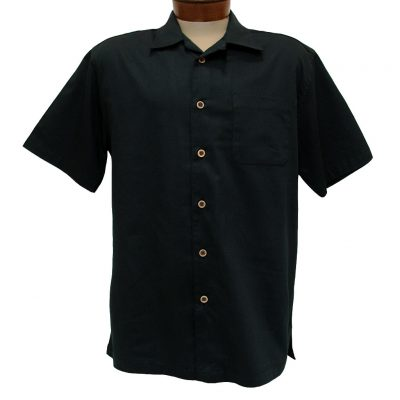 Men's F/X Fusion Short Sleeve Cotton Blend Camp Shirt, #802 Black