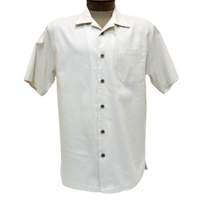 Men's F/X Fusion Short Sleeve Cotton Blend Camp Shirt, #802 Ivory
