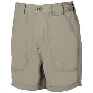 Men's Shorts, Hook & Tackle Original Beer Can Island NEW 4- Way Stretch Nylon Hybrid #M019740 Sand (32, ONLY!)