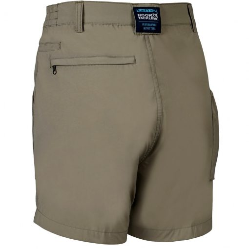 Men's Shorts, Hook & Tackle Original Beer Can Island NEW 4- Way Stretch Nylon Hybrid #M019740 Khaki