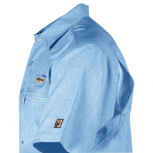 Men's Shirt, Hook & Tackle, Short Sleeve Tamarindo Performance Sun Protection, Quick-Dry #M01054S Blue Heather