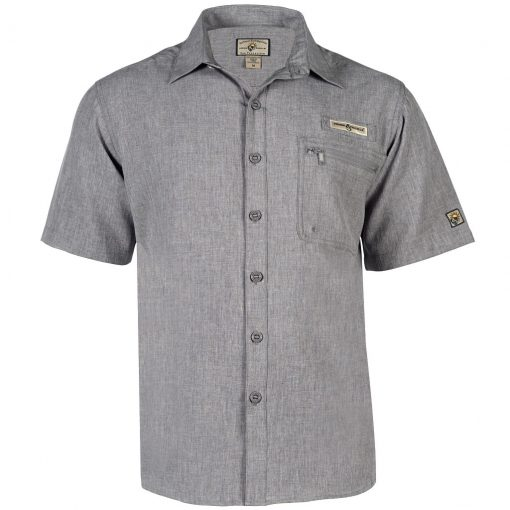 Men's Shirt, Hook & Tackle, Short Sleeve Tamarindo Performance Sun Protection, Quick-Dry #M01054S Charcoal Heather