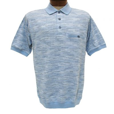 Men's Shirt, Classics By Palmland Short Sleeve Knit Banded Bottom Polo #6070-247 Light Blue