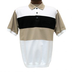 Men's Shirt, Classics By Palmland Short Sleeve Knit Banded Bottom Polo #6190-352 Taupe