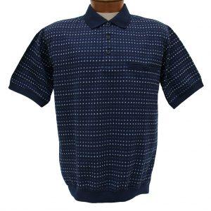 Men's Shirt, Classics By Palmland Short Sleeve Knit Banded Bottom Polo #6190-354 Navy