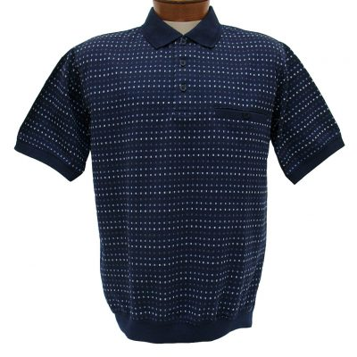 Men's Shirt, Classics By Palmland Short Sleeve Knit Banded Bottom Polo #6190-354 Navy