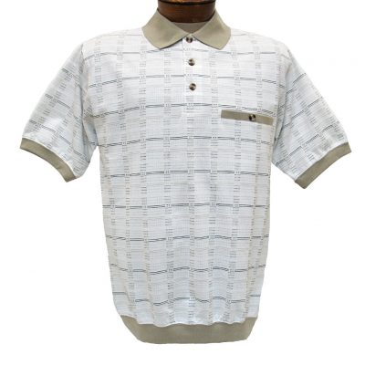 Men's Shirt, Classics By Palmland Short Sleeve Knit Banded Bottom Polo #6191-520 Khaki