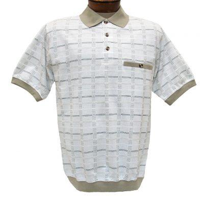 Men's Shirt, Classics By Palmland Short Sleeve Knit Banded Bottom Polo #6191-520 Khaki