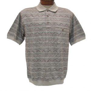 Men's Shirt, Classics By Palmland Short Sleeve Knit Banded Bottom Polo #6191-521 Khaki