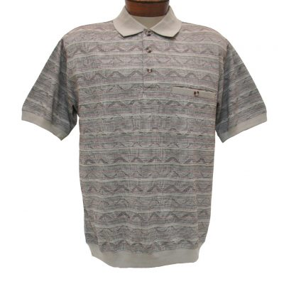 Men's Shirt, Classics By Palmland Short Sleeve Knit Banded Bottom Polo #6191-521 Khaki