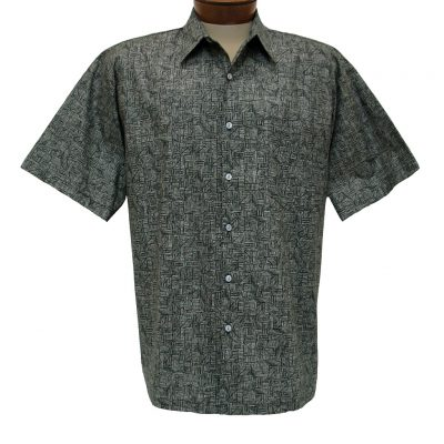 Men's Shirt, Tori Richard Cotton Lawn Relaxed Fit Short Sleeve, Labryinth #6405 Black