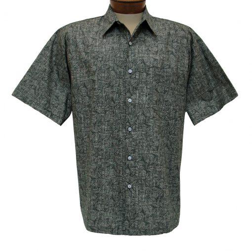 Men's Shirt, Tori Richard Cotton Lawn Relaxed Fit Short Sleeve, Labryinth #6405 Black