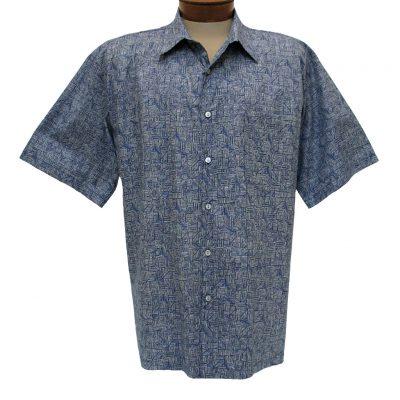 Men's Shirt, Tori Richard Cotton Lawn Relaxed Fit Short Sleeve, Labryinth #6405 Navy