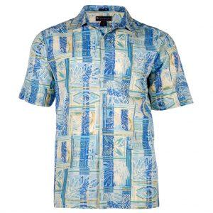 Men's Shirt, Weekender Tropical Silk Cotton Short Sleeve, Batik Forest Sky Blue