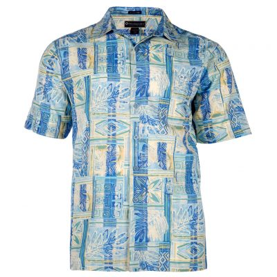 Men's Shirt, Weekender Tropical Silk Cotton Short Sleeve, Batik Forest Sky Blue