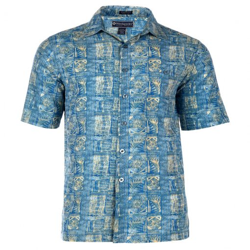 Men's Weekender Silk Cotton Blend Short Sleeve Tropica Shirt, Mariana, Blue Lagoon