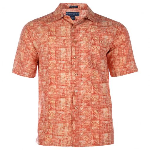 Men's Weekender Silk Cotton Blend Tropical Short Sleeve Shirt, Mariana Pomegranate