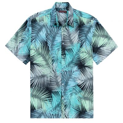 Men's Tori Richard® Cotton Lawn Relaxed Fit Short Sleeve Shirt, Palm Forest #MA06 Black