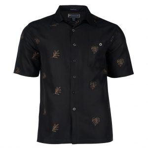 Men's Weekender Embroidered Hawaiian Short Sleeve Shirt, Leaf Life Black