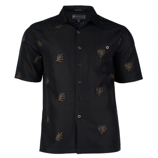 Men's Weekender Embroidered Hawaiian Short Sleeve Shirt, Leaf Life Black