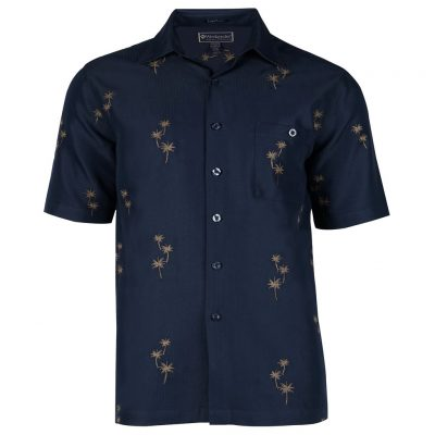 Men's Shirt, Weekender Embroidered Hawaiian, Short Sleeve Palm Grove Navy