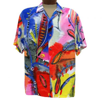 Men's Jams World Short Sleeve Original Crushed Rayon Retro Aloah Shirt, Secret Crush