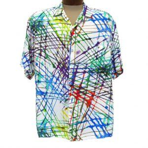 Men's Jams World Short Sleeve Original Crushed Rayon Retro Aloah Shirt, Trax