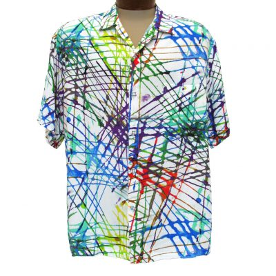 Men's Jams World Short Sleeve Original Crushed Rayon Retro Aloah Shirt, Trax