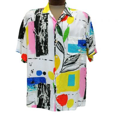 Men's Jams World Short Sleeve Original Crushed Rayon Retro Aloah Shirt, Tweet