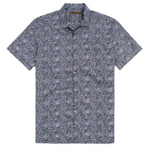 """Men's Shirt, Tori Richard Cotton Lawn Relaxed Fit Short Sleeve, Tessellation #6406 Black """"USE COUPON TR2 AT CHECK OUT"""""""